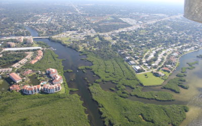 Aerial photo of the mouth of Phillippi Creek